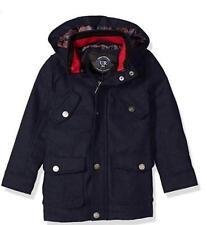NEW URBAN REPUBLIC Boy's Wool Blend Hooded Military Style Coat Jacket Navy 10/12