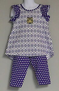 LSU TIGERS GIRL'S HIGH/LOW TUNIC SET 2 PIECE OUTFIT PURPLE WHITE CAPRIS NEW