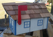 Amish Crafted Beige (Blue Trim) Barn Style Mailbox - Lancaster County PA