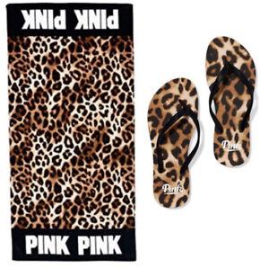 Victoria's Secret VS PINK Beach Towel Flip Flops LARGE Set Leopard Animal