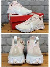 Nike De Las Señoras UK 5 EU 38.5 reaccionar elemento 55 Rosa Blanco Zapatillas Rrp £ 115 LG