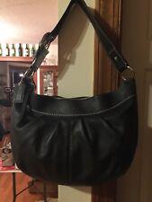 coach vtg black leather saddle bag