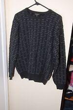 MINO MILANO Men's Men Black & Blue Crewneck Wool Acrylic Sweater