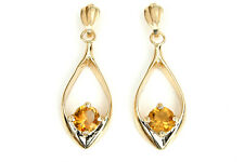 9ct Gold Citrine Open Drop earrings Made in UK Gift Boxed