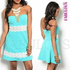 New Sexy Strapless Padded Crochet Mini Dress Casual Party Size 8 10 12 S M L