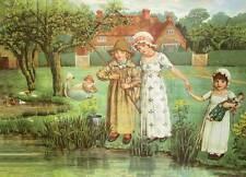 Victorian Little Girls Sisters doll Green grass pond