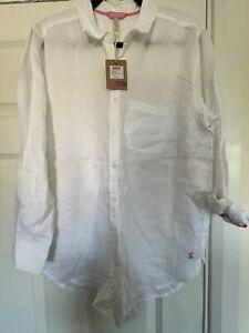 Joules Jeanne White Linen Shirt, Size 14, BNWT