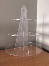 3 étages ronde acrylique clair Cupcake Stand Mariage Fête Display