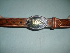 Nocona Western Leather Belt with Silver & Gold Bull Rider Buckle sz 24 brown