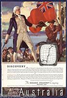 1934 OCEANIC Steamship Co advertisement, Visit AUSTRALIA, Captain Cook