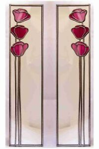 15.5x61cm pair Poppy 3 Stained Glass effect mirror Handmade in the UK mackintosh