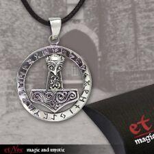 Thors Hammer Runen etNox Anhänger mit Band Box u. Text 925 Silber Thorhammer