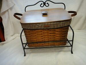 Longaberger Newspaper basket with lid, wrought iron stand, 2 liners, Rich brown