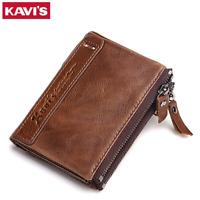 Men Women Genuine Leather Cowhide Bifold Wallet Holder Credit Card Retro Purse