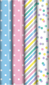 12m (4 x 3m) Generic New Baby Roll Wrap Party Pink Blue Pastel Presents Gifts