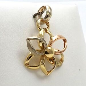 New 18K Tricolor Gold 750 Italy Large Daisy Flower Charm Pendant