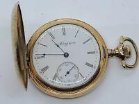 Antique 1910 ELGIN Ladies 15J Gold G.F. Victorian Full Hunter Pocket Watch 6s