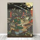 "Vintage Japanese SAMURAI Warrior Art CANVAS PRINT 8x12"" Kuniyoshi Battle #049"