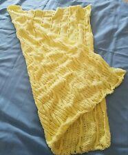 New listing handmade unisex baby blanket crocheted knitted afghan afgan throw yellow 51 inch
