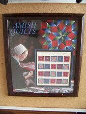American Treasures Amish Quilts 34c USA stamp sheet set wood framed frame