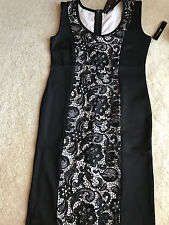 NEW NWT BCBG Max Azria dress BC33452D black polyester blend L LARGE 12 lace