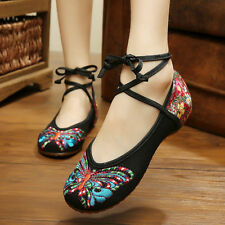 Womens Chinese Embroidered Flower Shoes Linen Mary Jane Ballet Shoes US