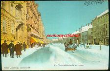 AK 1908-la-Chaux-de - Fonds en hiver-LEMAN 'S CHOCOLATS-affranchi-tourné