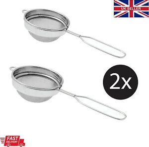 2 x Strainer Steel mesh colander tong tea Small Filter Sieve loose spill boil