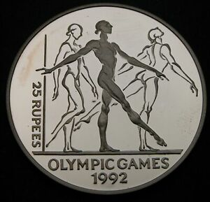 SEYCHELLES 25 Rupees 1993 Proof - Silver - 1992 Olympics - 852