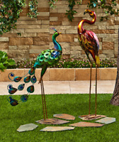 Outdoor Lawn Ornaments Statues Birds Flamingo Peacock Yard Decor Metallic Metal