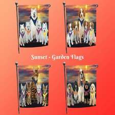 Family Sunset Dog Cat Garden Flag, Pet Photo Lovers Gift Home Decor Personalize