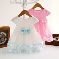 Newborn Baby Girls Infant Tutu Bow Dress Jumpsuit Princess Party Romper Dress