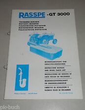 Betriebsanleitung und Teilekatalog Rasspe GT 3000 Trommelmäher Stand 10/1973