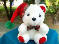 "VERY RARE Vintage Dan Dee Christmas White Teddy Bear 7"" Plush Stuffed Animal Toy"