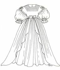 "Period French German Victorian Anique Dress Pattern for 16"" to 17"" Doll 307"