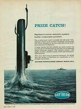 1959 Raytheon Sonar Detection System Hooks Underwater Prowlers Submarine Navy Ad