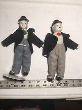 "2 VTG LAUREL AND & HARDY GENIUS COMICS 9"" CERAMIC Figures DOLLS Figurines Stand"