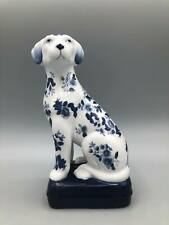 Andrea By Sadek Cobalt Blue And White Dog Handcrafted Porcelain Painted Flowers