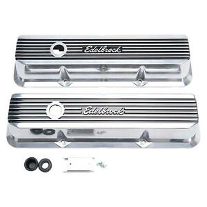 Edelbrock 4277 Elite II Series Aluminum Pol. Valve Covers fits Ford FE 390 427
