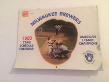Vintage 1983 Milwaukee Brewers Team Schedule wall Calendar Burger King