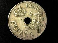 25 céntimos 1927 Alfonso XIII, España XF a F, spain coin.