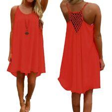 Plus Size 8-24 Women's Casual Sleeveless Evening Party Beach Short Mini Dress Red 18