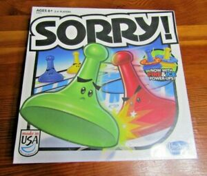Hasbro Sorry! Board Game With Fire & Ice Power-Ups 6 yrs + Factory SealedNew