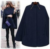 Womens Batwing Wool Poncho Cloak Cape Coats Outwear Warm Dress Shirts Jacket