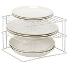 Laminated Metal Wire 2 Tier Corner Plate Stand Rack Kitchen Cupboard Storage NEW