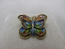 emaillierter Schmetterling Anhänger / Brosche aus Silber 925 S vergoldet Norway