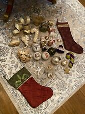 Job Lot Vintage And New Christmas Decorations Stocking Stockings Angels Bubbles