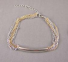 Silver Gold tone 5 multi strand chain link bracelet