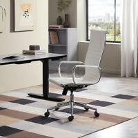 Modern High-Back White Ribbed Upholstered PU Leather Executive Office Desk Chair