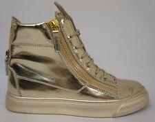 Giuseppe Zanotti London High Top Sneakers Gold Metallic Women's Shoes Size 37